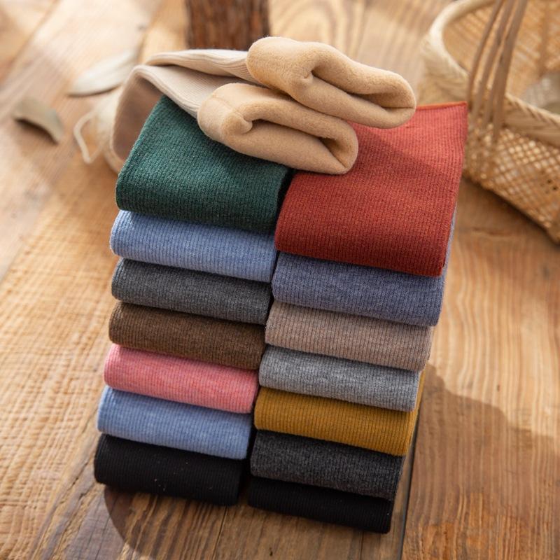 冬季 女士山羊绒 加绒加厚保暖 竖条纹雪地袜子