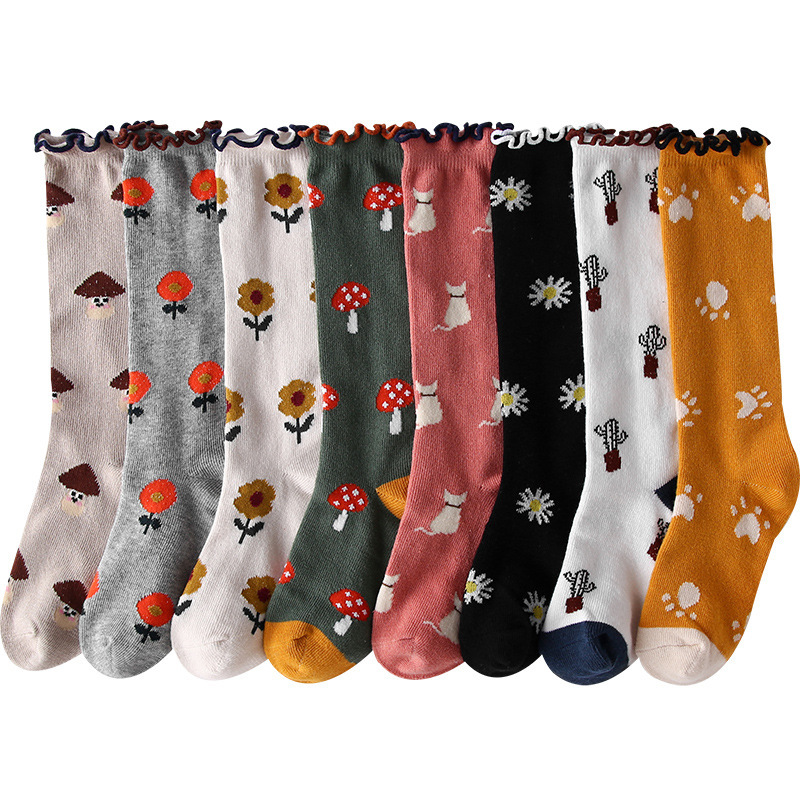 秋冬新款 儿童太阳花小花 木耳边堆堆袜 中筒棉袜子