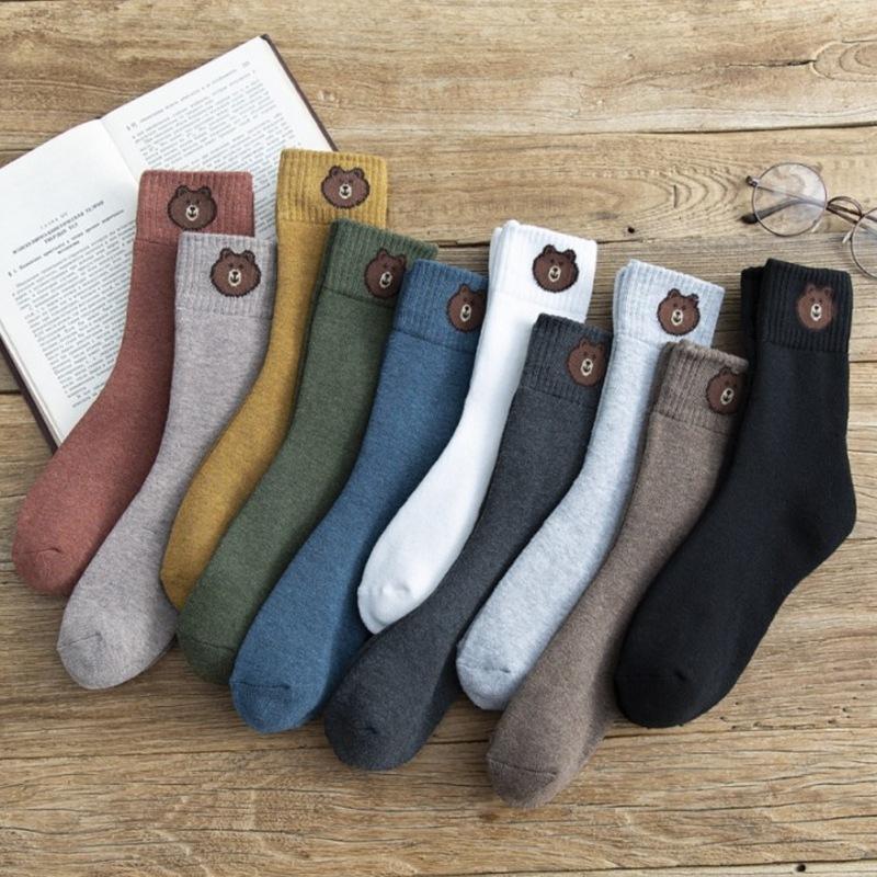 冬季 女士卡通小熊袜 加厚保暖中筒 毛圈袜子批发
