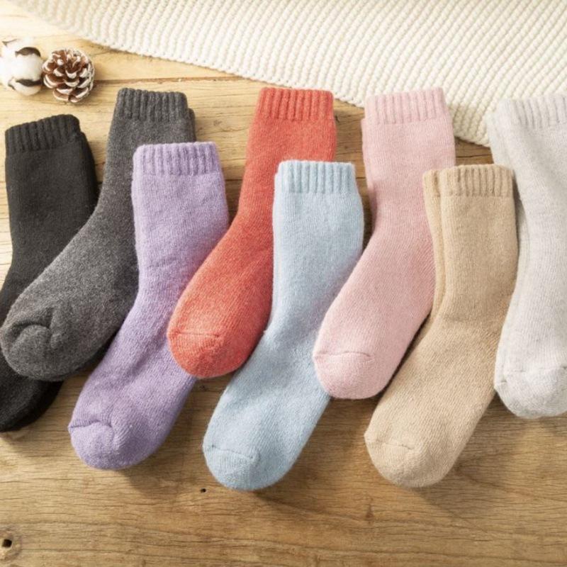 冬季 女士甜美舒适超厚加绒保暖平板羊毛袜子