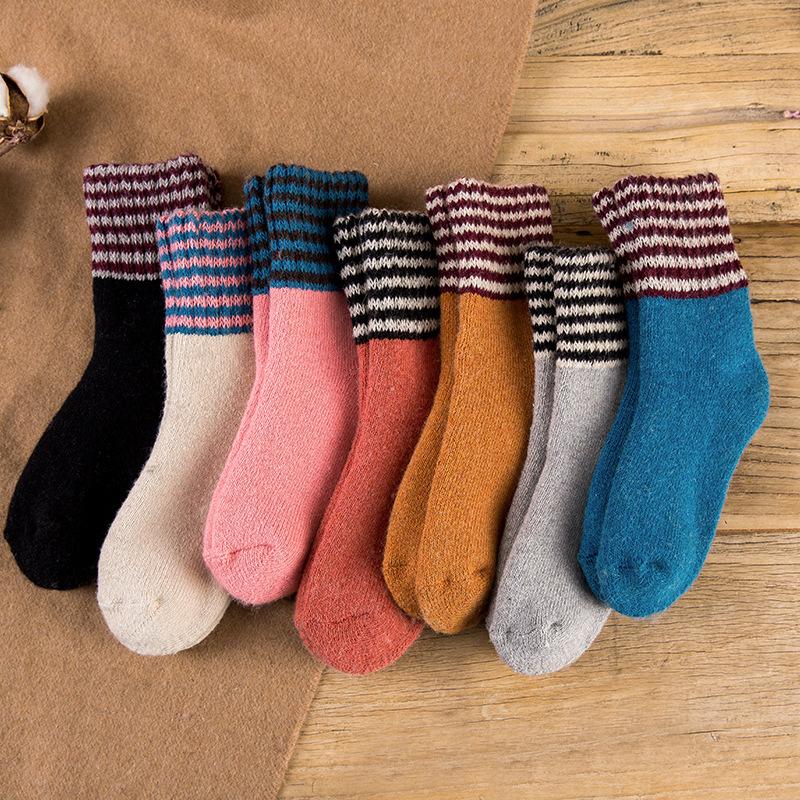 冬季 女士纯色翻边罗口条纹 特厚发热保暖羊毛袜子