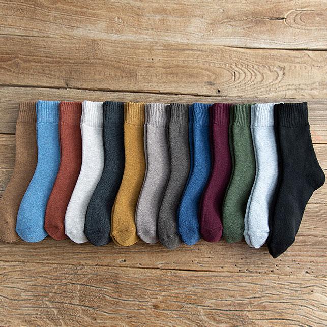 冬季 女士加绒加厚毛圈袜 糖果色中筒地板袜子