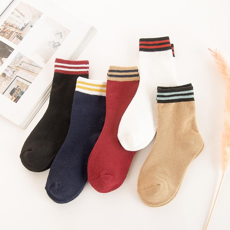 冬季 女士条纹平板 加厚加绒保暖 毛圈袜子批发