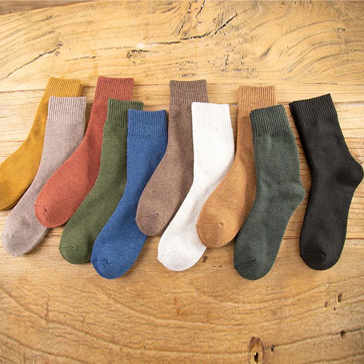 冬季 男士加绒加厚毛圈袜 糖果色中筒地板袜子