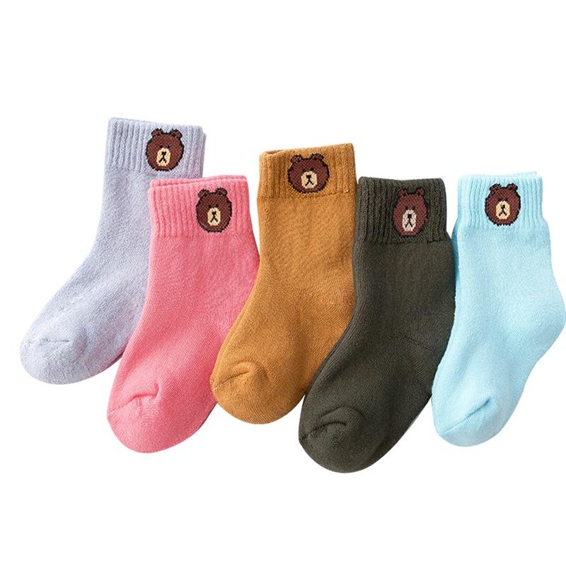 冬季儿童女童女孩 小熊卡通 加厚毛圈加绒 中筒袜子