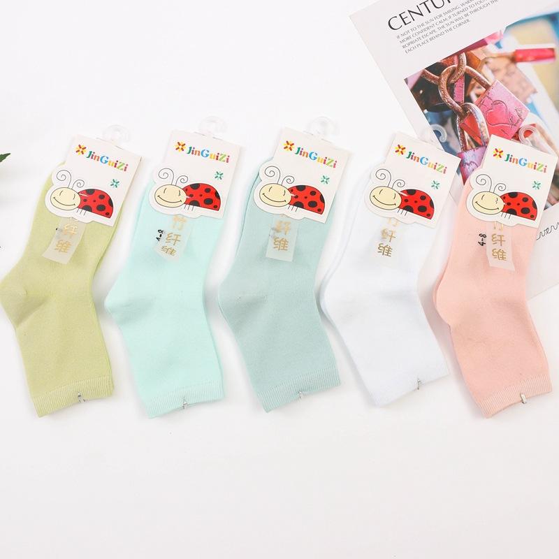 秋冬 儿童糖果色纯色 中筒宝宝袜学生袜子批发