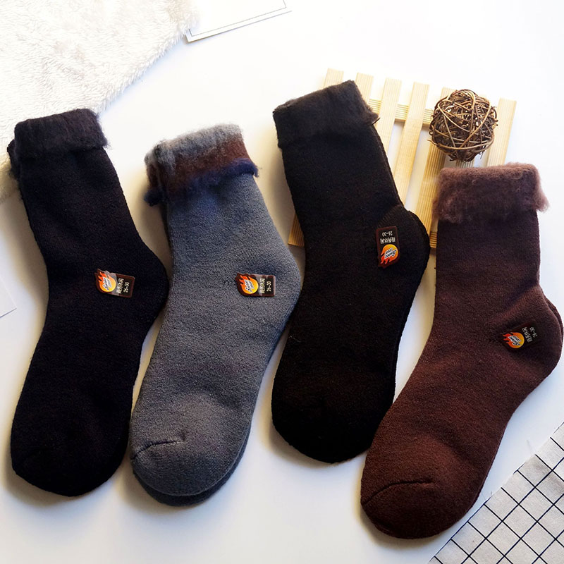 男士加厚羊毛袜子批发 加厚加绒保暖 纯色毛圈男袜