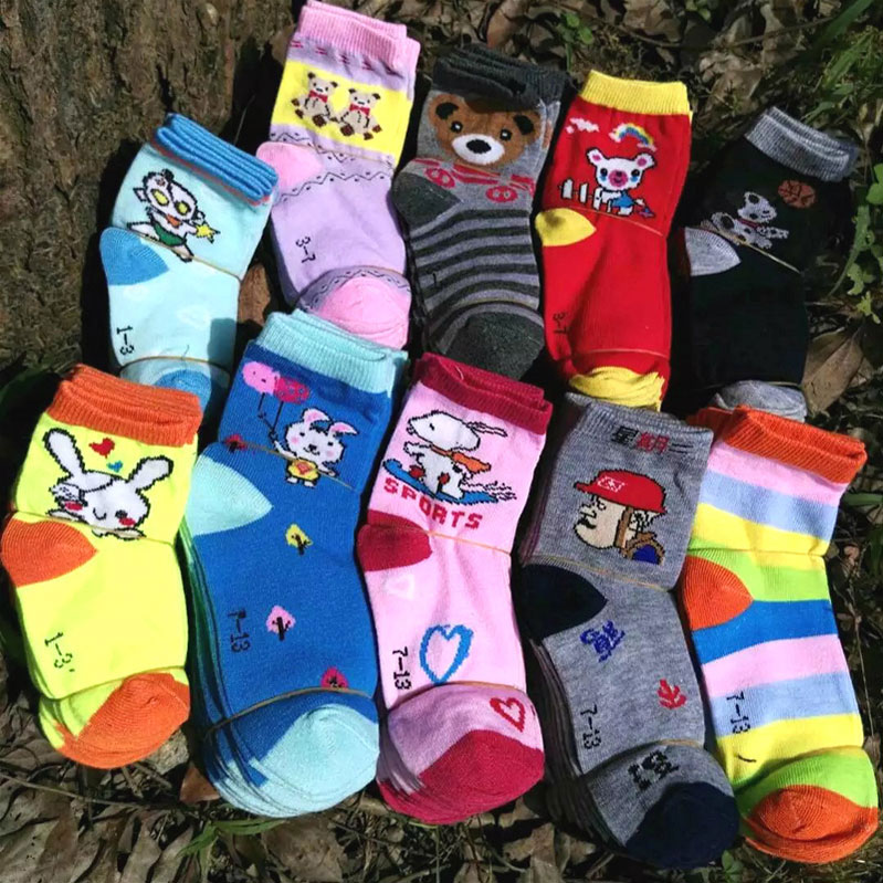 7-13岁儿童袜子 棉袜 卡通图案 秋冬款 中厚