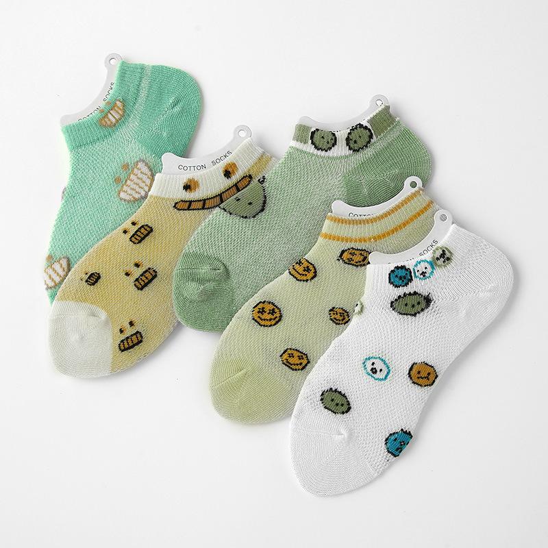 春夏季节新款薄棉衬板搞怪表情款儿童袜子大小童船袜透气隐形船袜