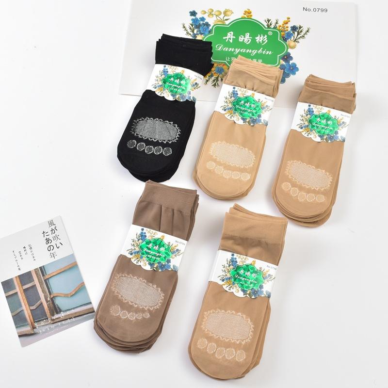 春秋款女士短丝袜子 棉底不易勾丝 耐穿加厚钢丝袜