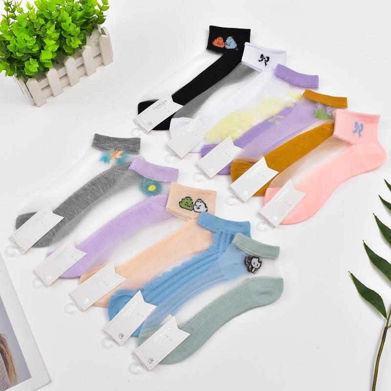 夏季新款 女士玻璃丝水晶丝袜子 潮流卡通棉袜隐形袜批发