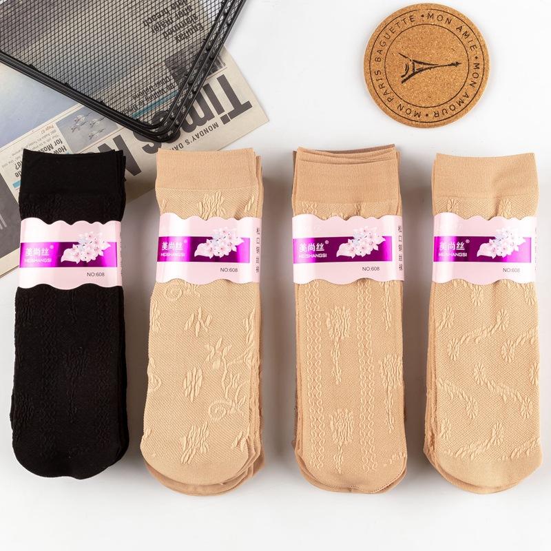 春夏季女士中老年暗花 中厚不勾丝天鹅绒丝袜子厂家批发