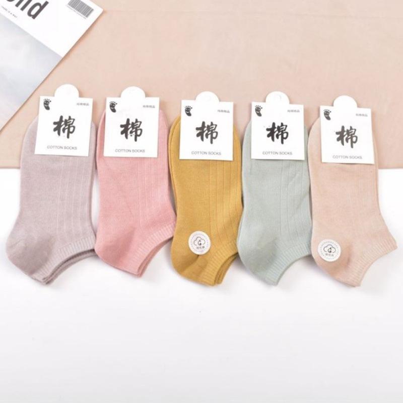 春夏薄款女士纯色竖条棉袜船袜子  糖果色女袜短袜批发