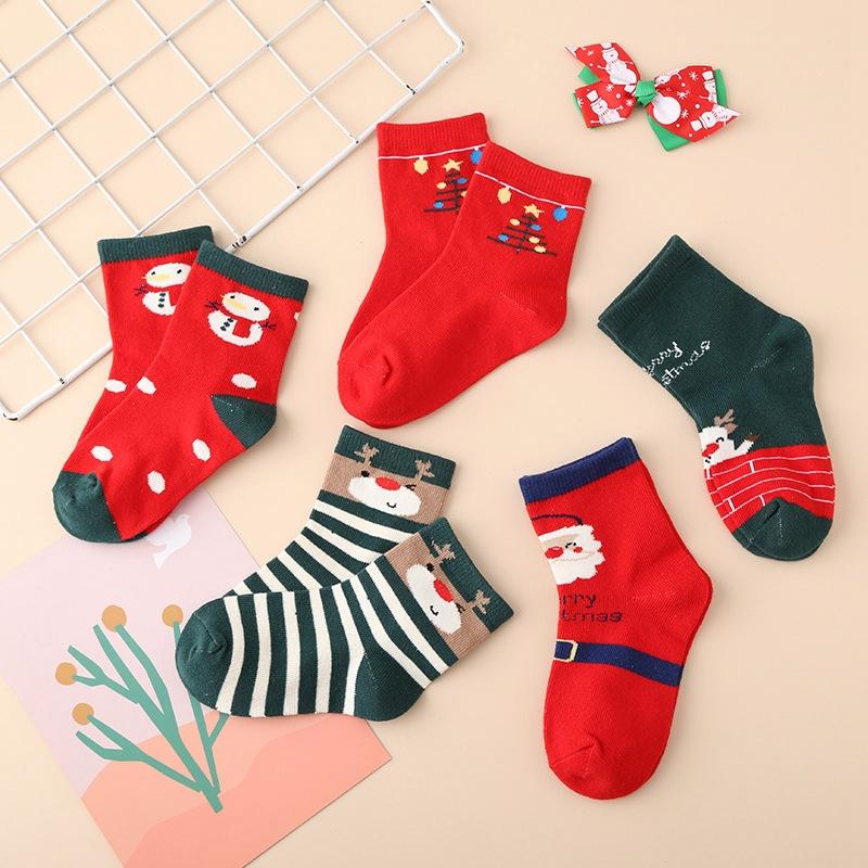 秋冬新款儿童袜子 红色圣诞过年中筒袜子男童女童棉袜子厂家批发