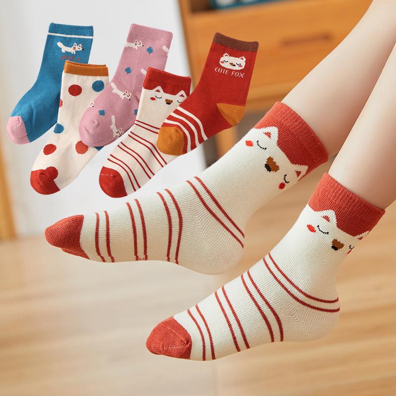 秋冬季儿童袜子 女童女孩狐狸草莓 小中大童纯棉运动袜批发