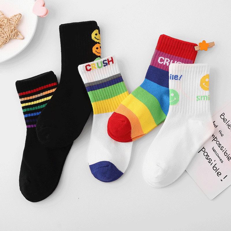 秋冬季 儿童彩虹笑脸条纹 中筒运动潮袜子