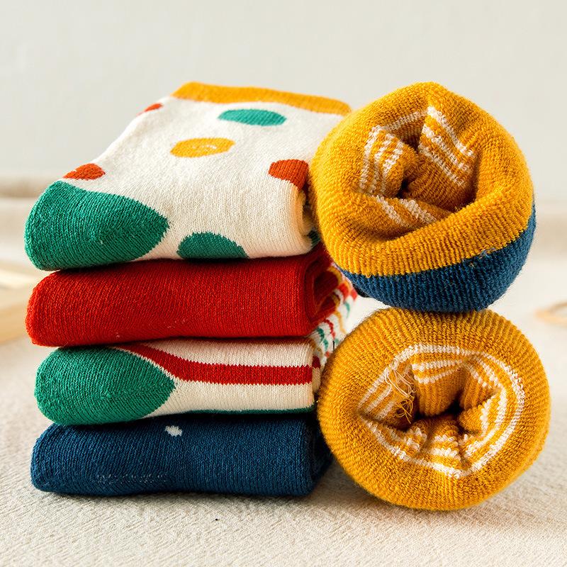 秋冬新款 儿童加厚加绒毛圈袜子 男女童保暖御寒中筒袜子批发
