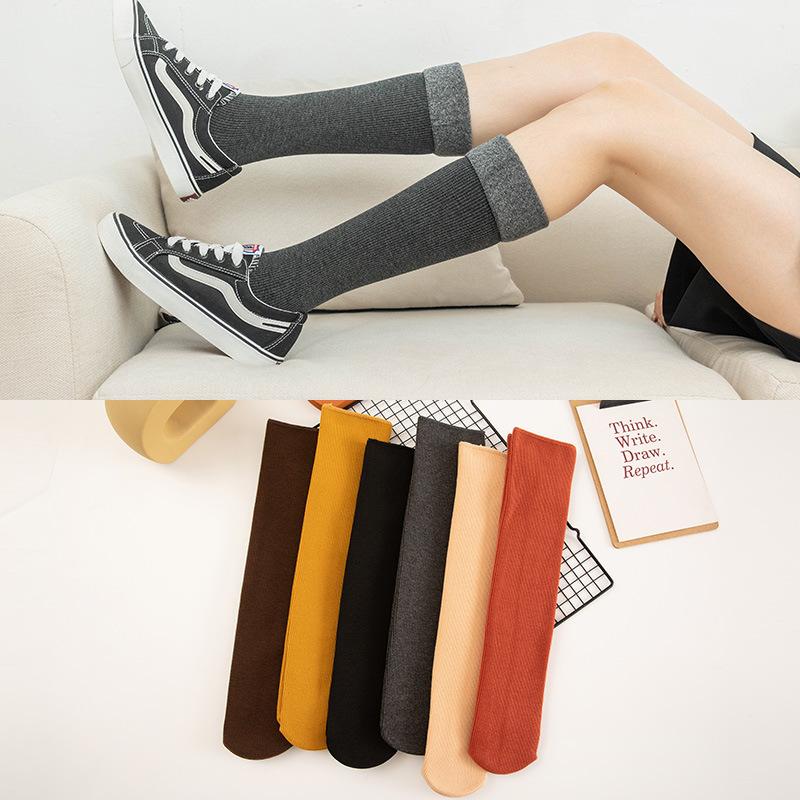 光腿神器 冬季女士中筒小腿袜子 竖条加厚雪地袜地板袜