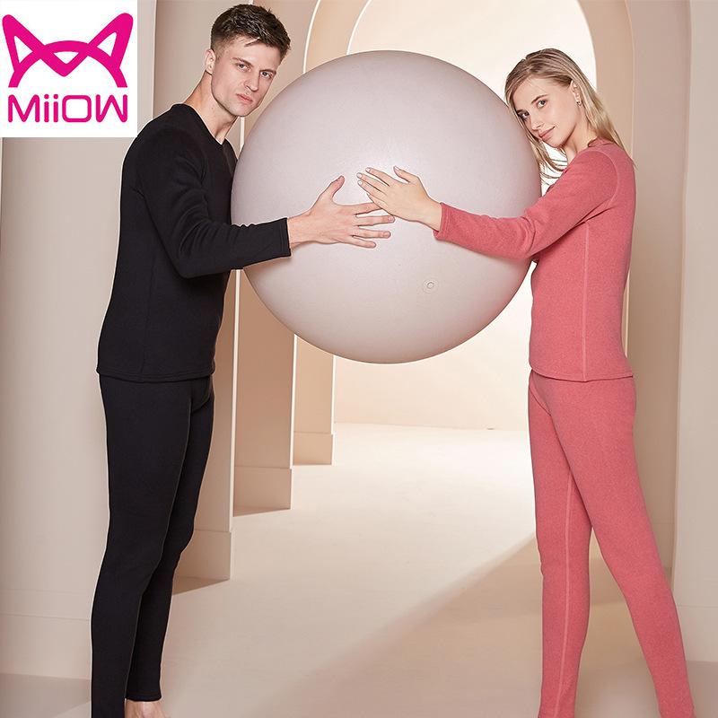 猫人2021新款 加绒加厚奥利绒男女情侣保暖内衣套装