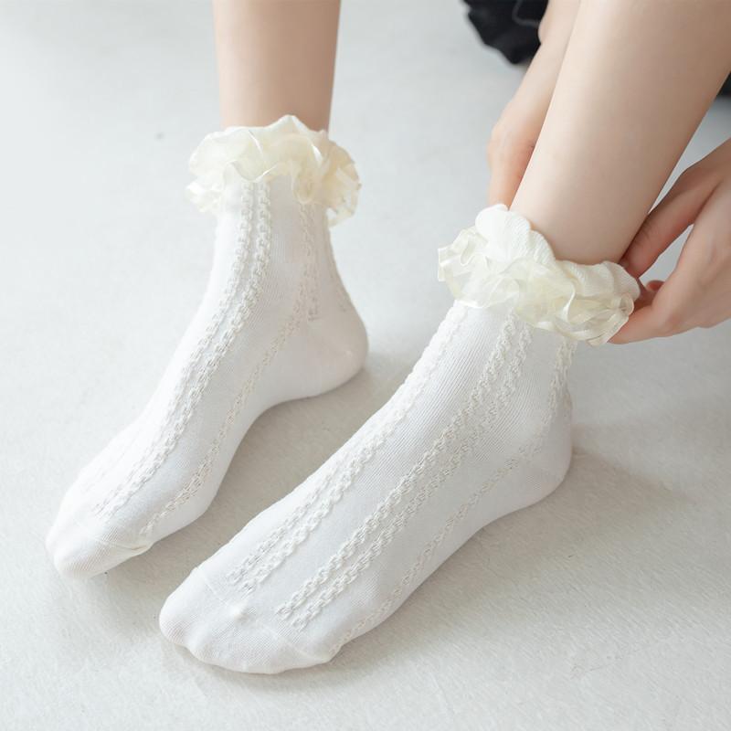 春秋新品 花边中筒袜洛丽塔棉袜jk黑白色公主风袜子