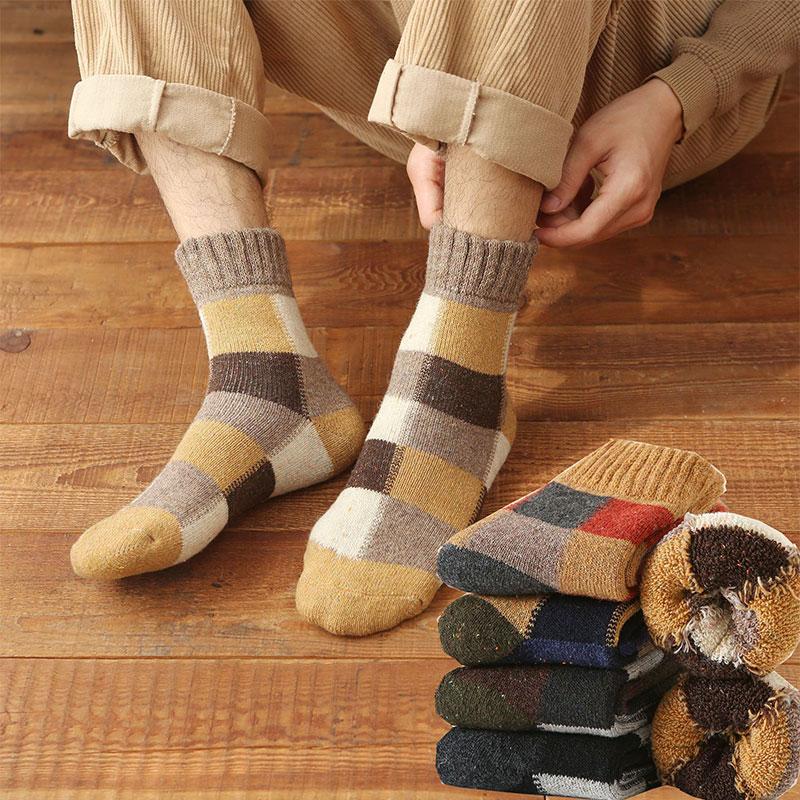 冬季男士加厚羊毛袜子 加绒保暖毛圈袜复古方格毛巾底中筒袜批发
