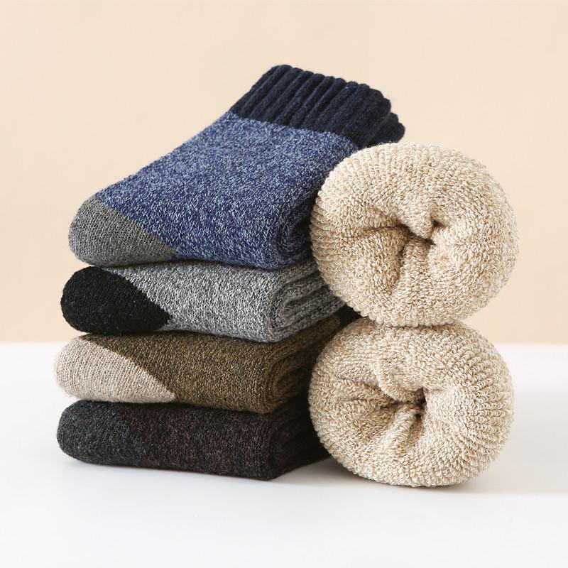 冬季男士羊毛袜子 加厚保暖毛圈中筒袜休闲拼色加绒毛巾袜批发