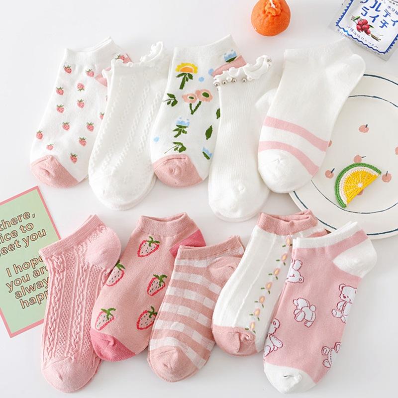 春夏薄款 女士粉色甜美条纹草莓 船袜短袜棉袜子批发