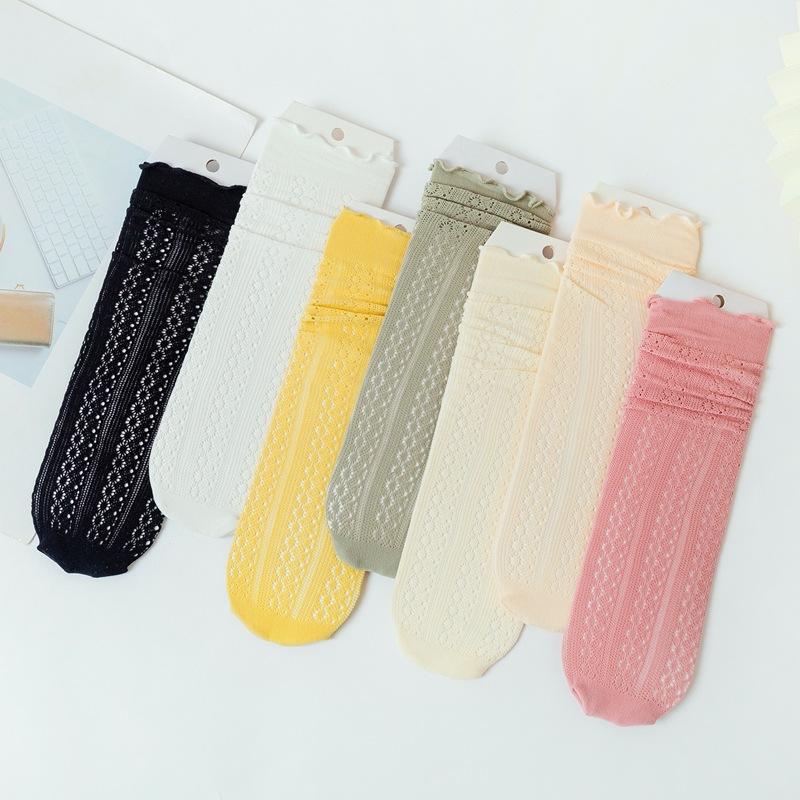 春夏秋新款 女士纯色薄款 木耳花边镂空网眼蕾丝袜堆堆袜子