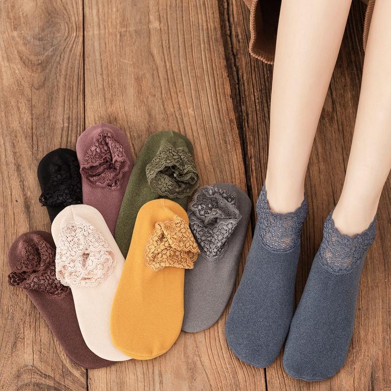秋冬女士 韩版蕾丝花边 德绒加绒加厚硅胶防滑保暖地板袜